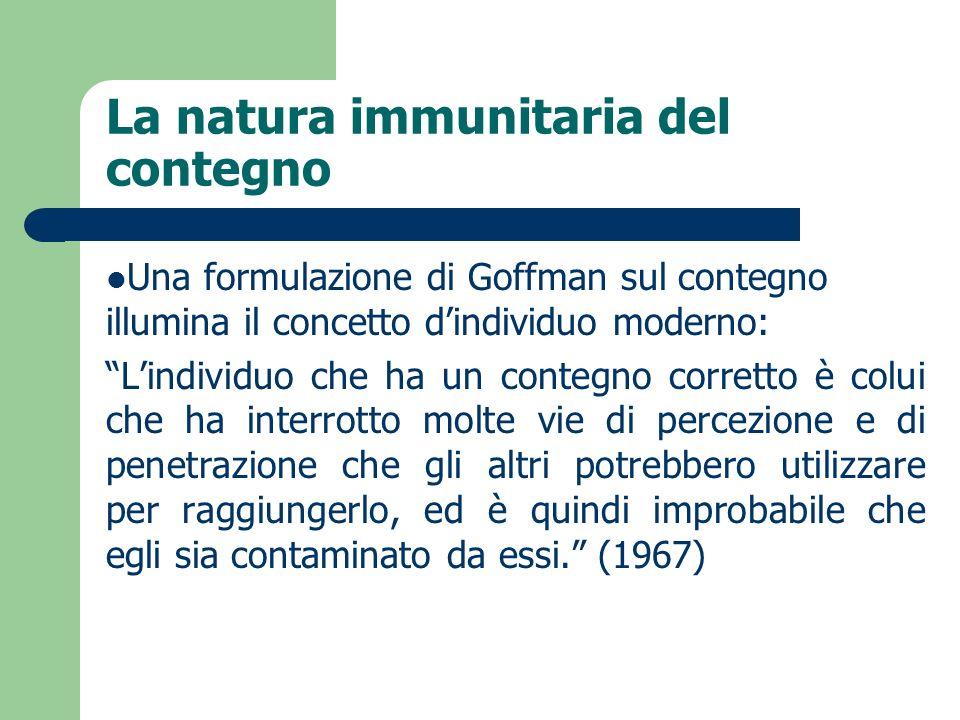 La natura immunitaria del contegno Una formulazione di Goffman sul contegno illumina il concetto dindividuo moderno: Lindividuo che ha un contegno cor