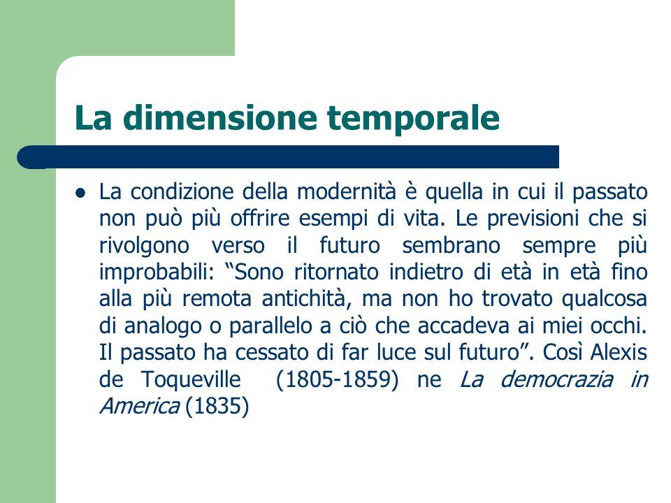 La dimensione temporale La condizione della modernità è quella in cui il passato non può più offrire esempi di vita. Le previsioni che si rivolgono ve