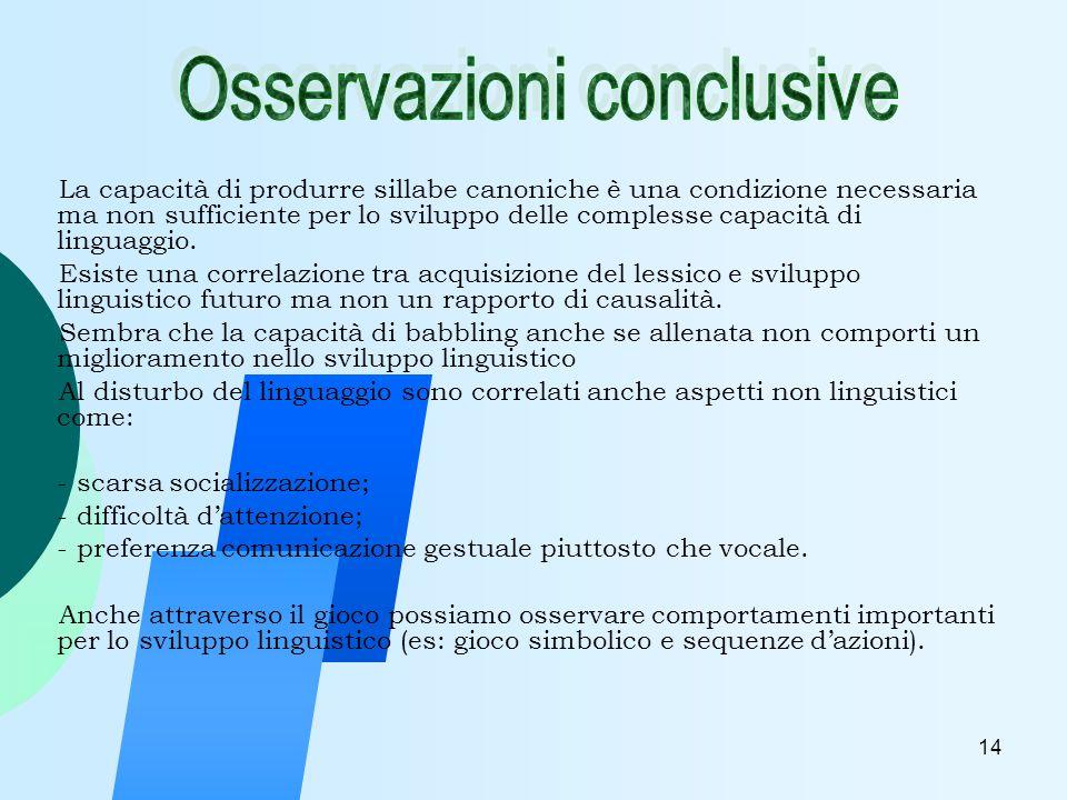 14 La capacità di produrre sillabe canoniche è una condizione necessaria ma non sufficiente per lo sviluppo delle complesse capacità di linguaggio.