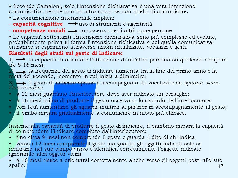 17 Secondo Camaioni, solo lintenzione dichiarativa è una vera intenzione comunicativa perché non ha altro scopo se non quello di comunicare.