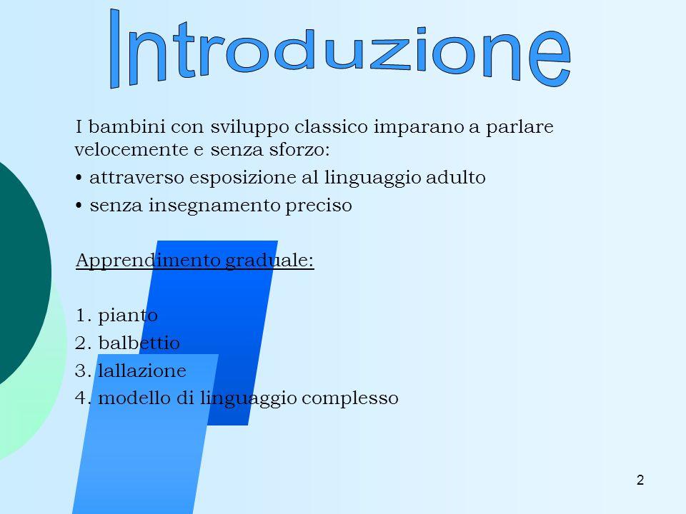 3 hanno limitazioni nello sviluppo del linguaggio, pur non avendo nessun tipo di patologia riscontrabile.