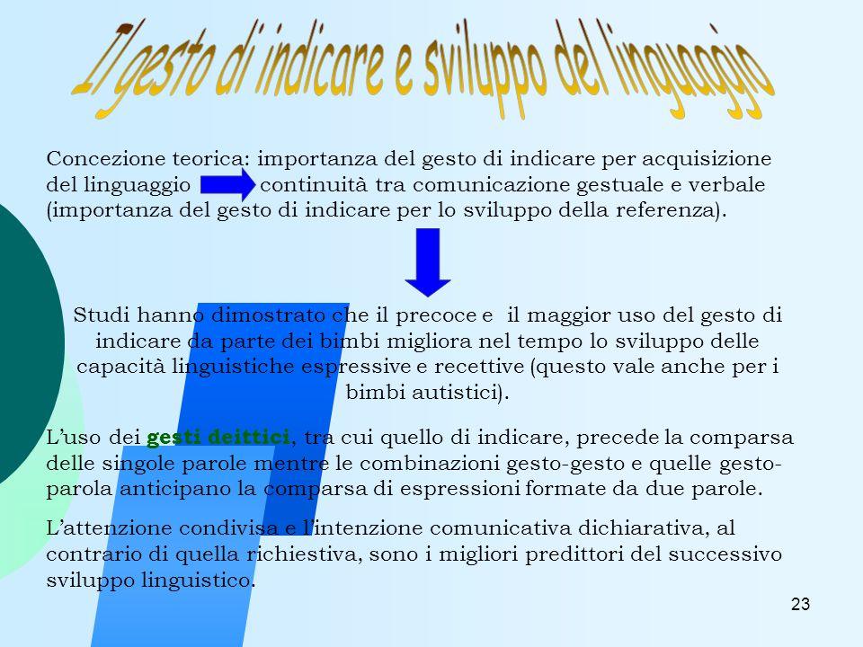 23 Concezione teorica: importanza del gesto di indicare per acquisizione del linguaggio continuità tra comunicazione gestuale e verbale (importanza del gesto di indicare per lo sviluppo della referenza).