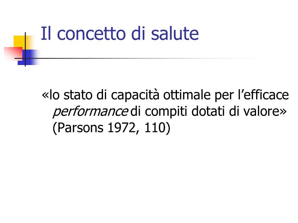 Il concetto di salute «lo stato di capacità ottimale per lefficace performance di compiti dotati di valore» (Parsons 1972, 110)