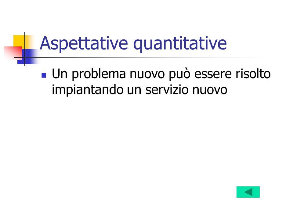 Aspettative quantitative Un problema nuovo può essere risolto impiantando un servizio nuovo