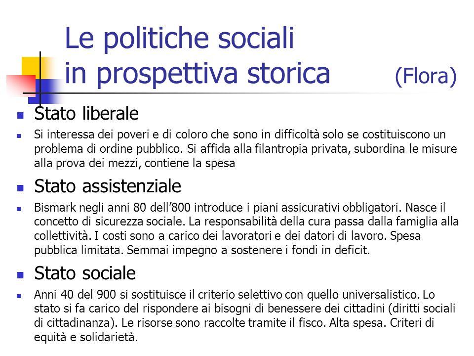 Le politiche sociali in prospettiva storica (Flora) Stato liberale Si interessa dei poveri e di coloro che sono in difficoltà solo se costituiscono un