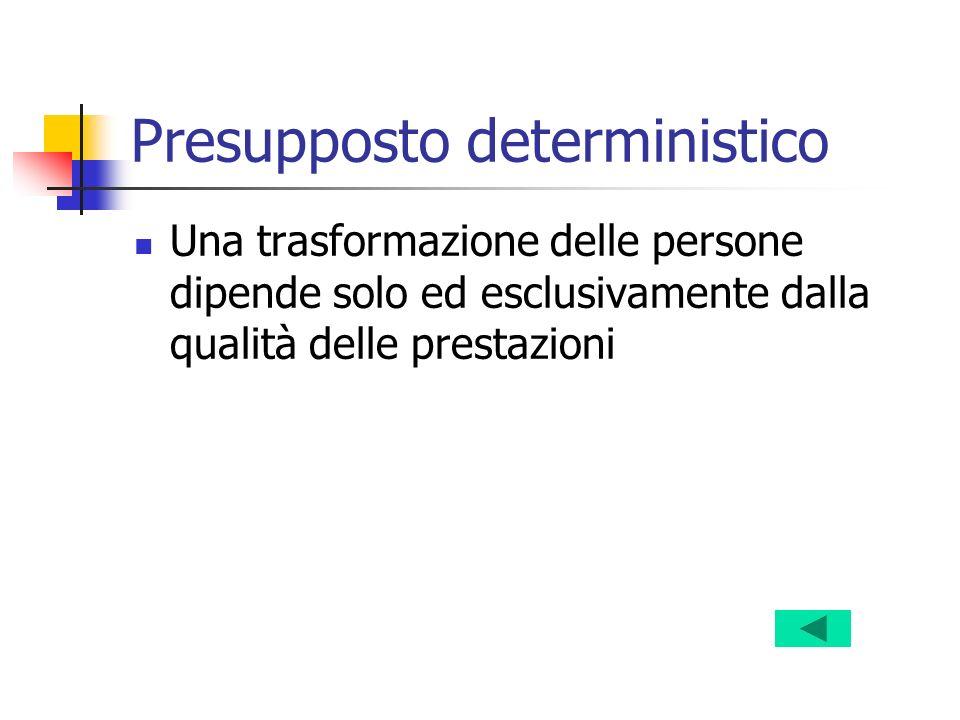 Presupposto deterministico Una trasformazione delle persone dipende solo ed esclusivamente dalla qualità delle prestazioni