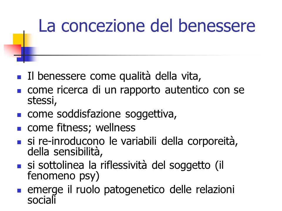 La concezione del benessere Il benessere come qualità della vita, come ricerca di un rapporto autentico con se stessi, come soddisfazione soggettiva,