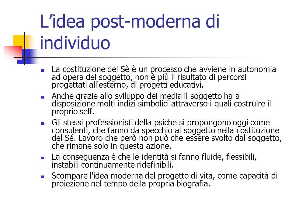 Lidea post-moderna di individuo La costituzione del Sè è un processo che avviene in autonomia ad opera del soggetto, non è più il risultato di percors