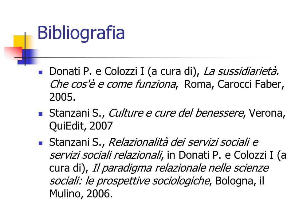 Bibliografia Donati P. e Colozzi I (a cura di), La sussidiarietà. Che cos'è e come funziona, Roma, Carocci Faber, 2005. Stanzani S., Culture e cure de