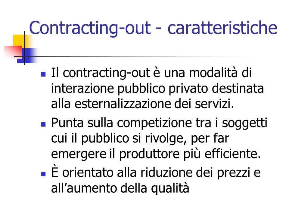 Contracting-out - caratteristiche Il contracting-out è una modalità di interazione pubblico privato destinata alla esternalizzazione dei servizi. Punt