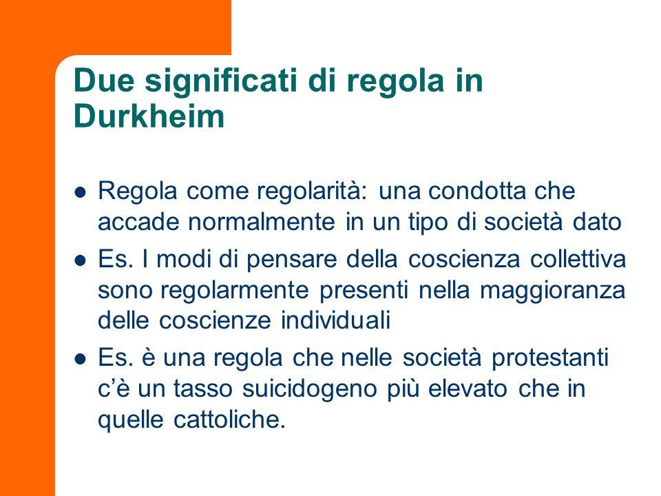 Due significati di regola in Durkheim Regola come regolarità: una condotta che accade normalmente in un tipo di società dato Es. I modi di pensare del