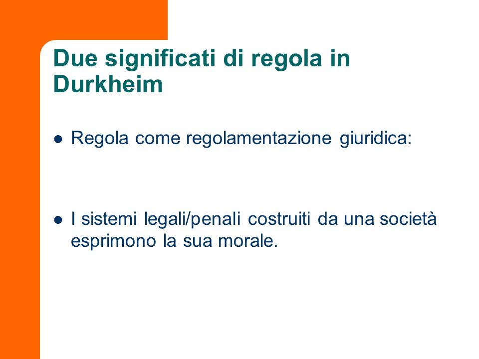 Due significati di regola in Durkheim Regola come regolamentazione giuridica: I sistemi legali/penali costruiti da una società esprimono la sua morale