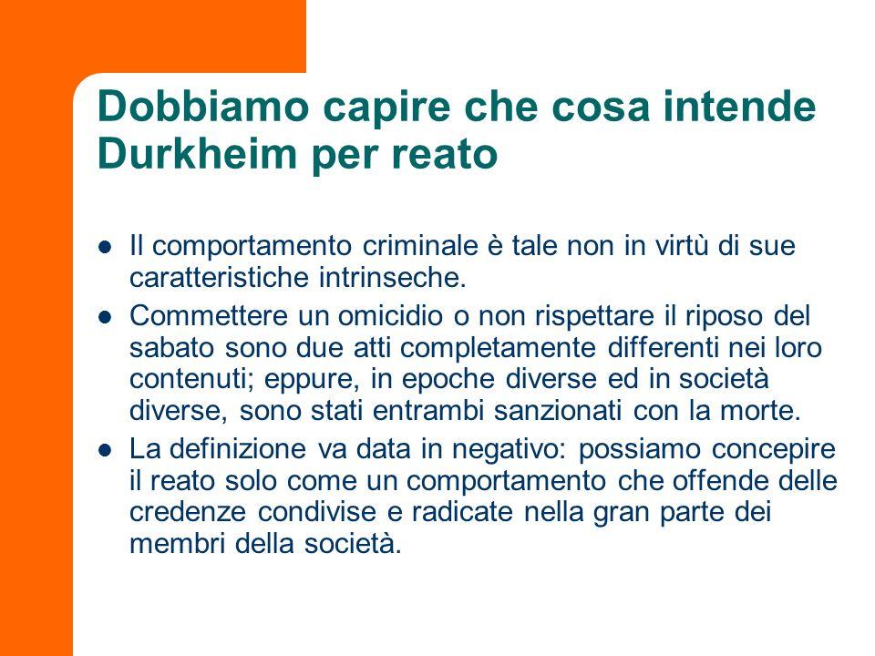 Dobbiamo capire che cosa intende Durkheim per reato Il comportamento criminale è tale non in virtù di sue caratteristiche intrinseche. Commettere un o