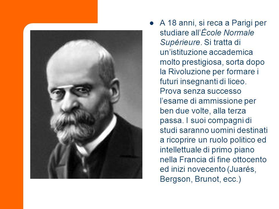 AllÉcole fu suo insegnate Émile Boutroux (1845-1921), un filosofo di rilievo nellambito del dibattito francese sul positivismo.