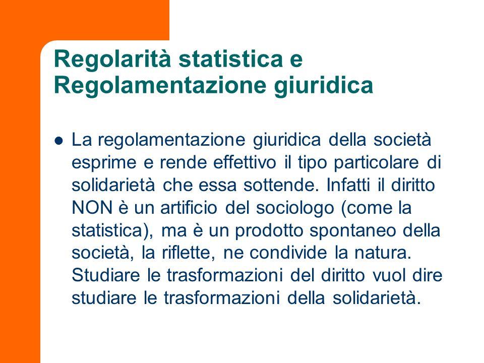 Regolarità statistica e Regolamentazione giuridica La regolamentazione giuridica della società esprime e rende effettivo il tipo particolare di solida