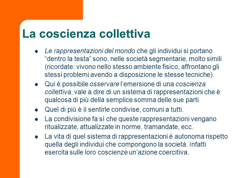 La coscienza collettiva Le rappresentazioni del mondo che gli individui si portano dentro la testa sono, nelle società segmentarie, molto simili (rico