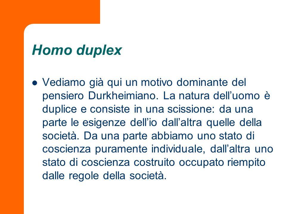 Homo duplex Vediamo già qui un motivo dominante del pensiero Durkheimiano. La natura delluomo è duplice e consiste in una scissione: da una parte le e