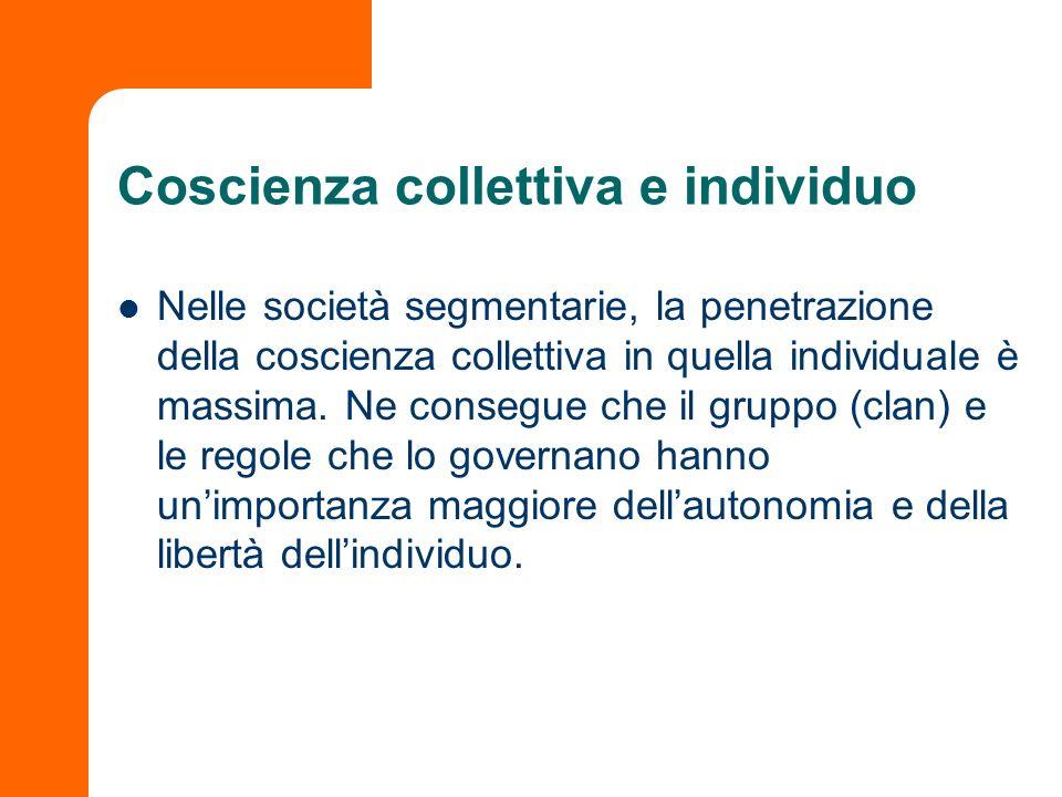 Coscienza collettiva e individuo Nelle società segmentarie, la penetrazione della coscienza collettiva in quella individuale è massima. Ne consegue ch