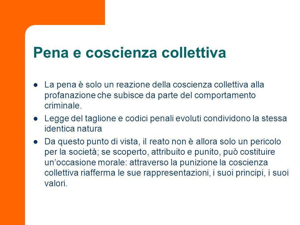 Pena e coscienza collettiva La pena è solo un reazione della coscienza collettiva alla profanazione che subisce da parte del comportamento criminale.