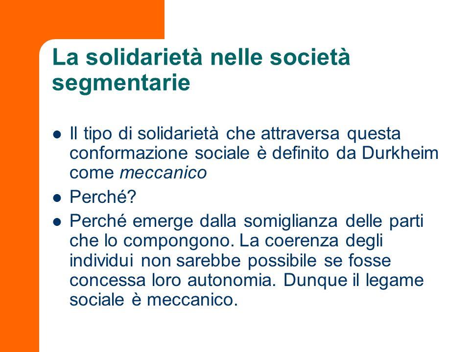 La solidarietà nelle società segmentarie Il tipo di solidarietà che attraversa questa conformazione sociale è definito da Durkheim come meccanico Perc