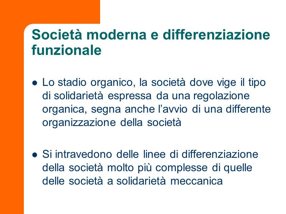Società moderna e differenziazione funzionale Lo stadio organico, la società dove vige il tipo di solidarietà espressa da una regolazione organica, se