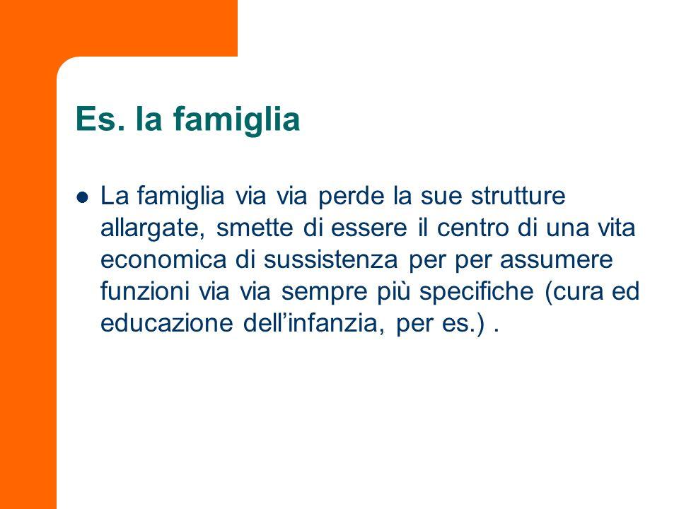 Es. la famiglia La famiglia via via perde la sue strutture allargate, smette di essere il centro di una vita economica di sussistenza per per assumere