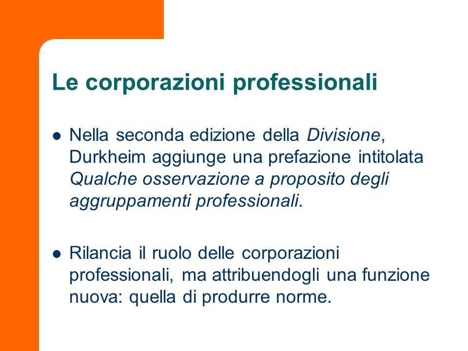 Le corporazioni professionali Nella seconda edizione della Divisione, Durkheim aggiunge una prefazione intitolata Qualche osservazione a proposito deg