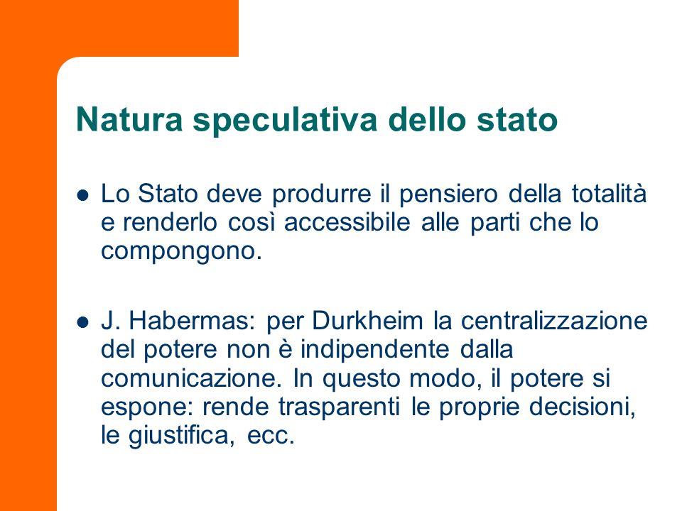 Natura speculativa dello stato Lo Stato deve produrre il pensiero della totalità e renderlo così accessibile alle parti che lo compongono. J. Habermas