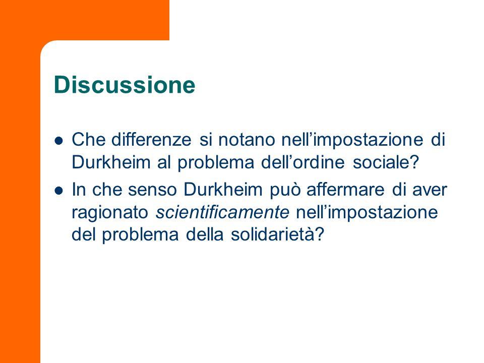 Discussione Che differenze si notano nellimpostazione di Durkheim al problema dellordine sociale? In che senso Durkheim può affermare di aver ragionat