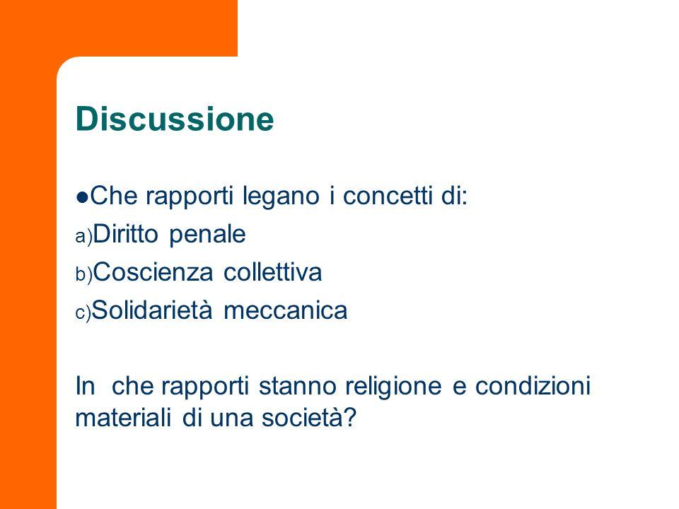 Discussione Che rapporti legano i concetti di: a) Diritto penale b) Coscienza collettiva c) Solidarietà meccanica In che rapporti stanno religione e c