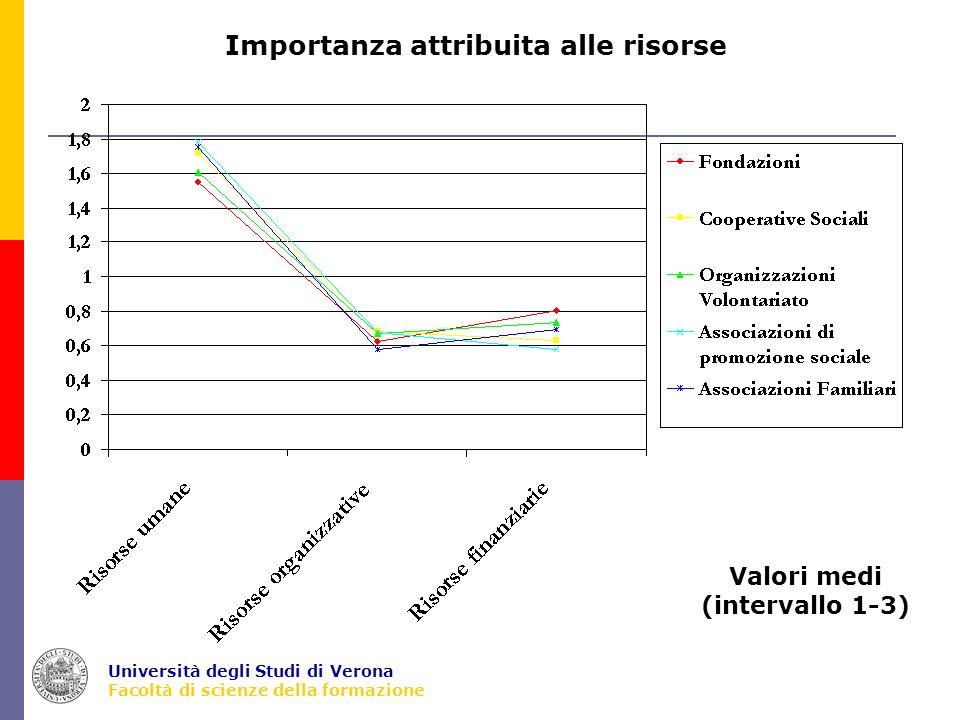 Università degli Studi di Verona Facoltà di scienze della formazione Importanza attribuita alle risorse Valori medi (intervallo 1-3)