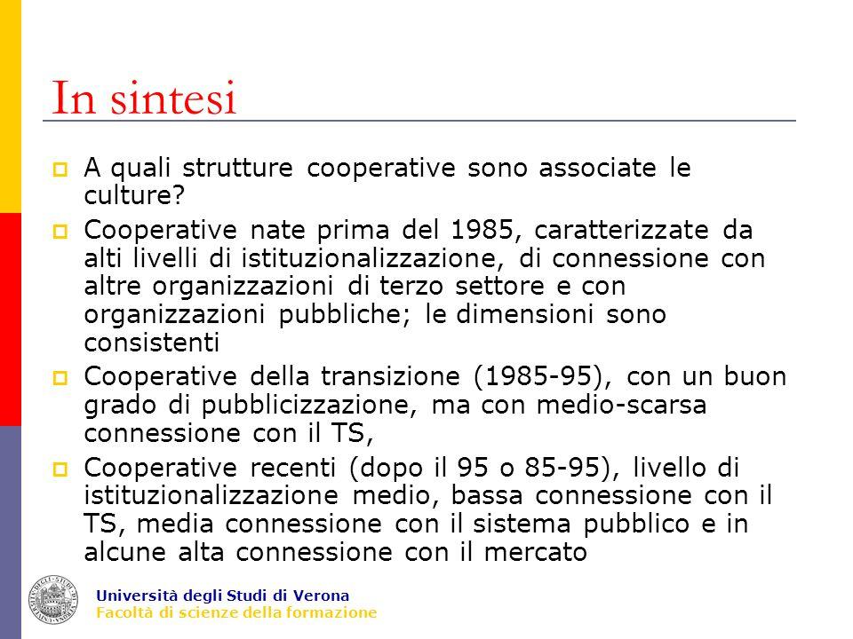 Università degli Studi di Verona Facoltà di scienze della formazione In sintesi A quali strutture cooperative sono associate le culture.