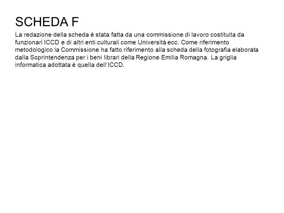 SCHEDA F La redazione della scheda è stata fatta da una commissione di lavoro costituita da funzionari ICCD e di altri enti culturali come Università ecc.