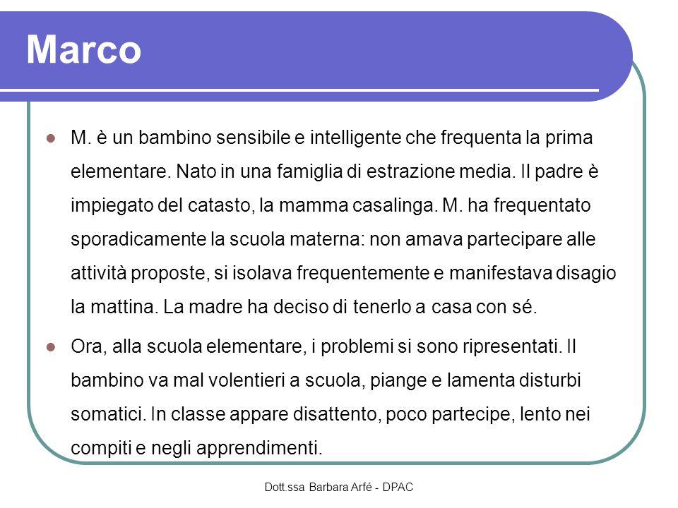 Marco M.è un bambino sensibile e intelligente che frequenta la prima elementare.