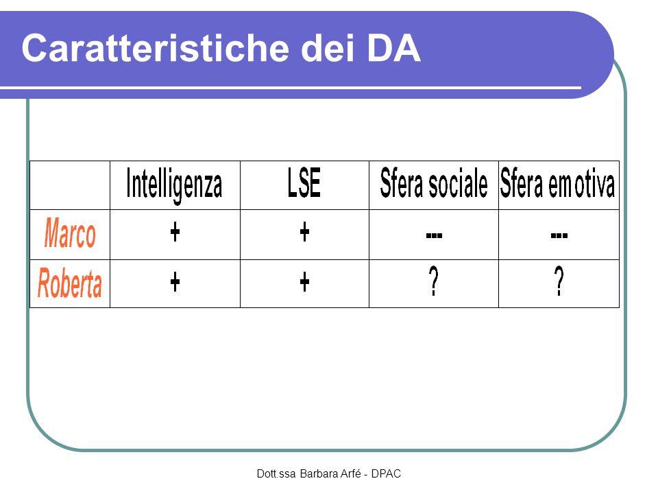 Caratteristiche dei DA Dott.ssa Barbara Arfé - DPAC