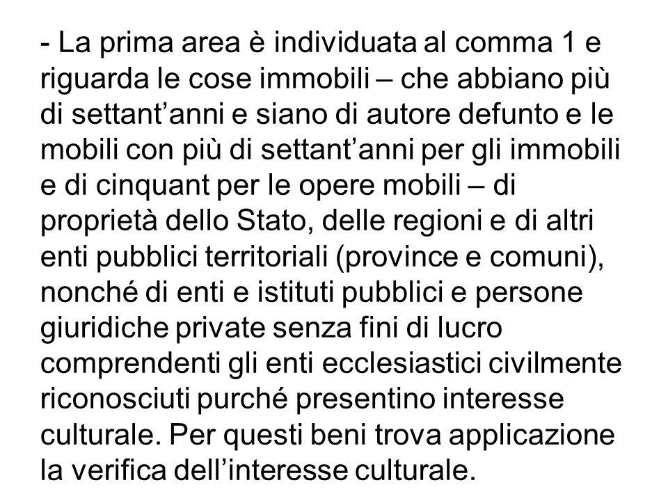 ART.12 Il meccanismo della verifica dellinteresse culturale di cui allart.