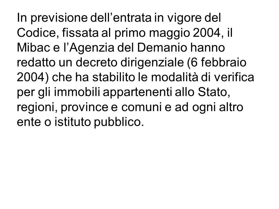 In previsione dellentrata in vigore del Codice, fissata al primo maggio 2004, il Mibac e lAgenzia del Demanio hanno redatto un decreto dirigenziale (6