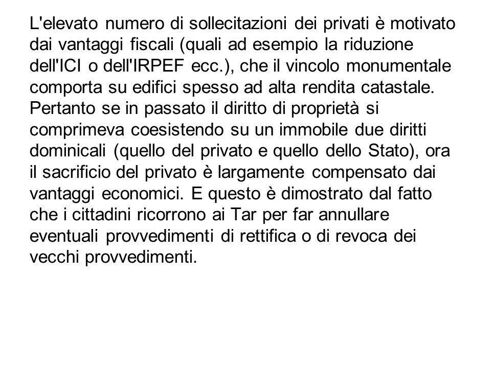 L'elevato numero di sollecitazioni dei privati è motivato dai vantaggi fiscali (quali ad esempio la riduzione dell'ICI o dell'IRPEF ecc.), che il vinc