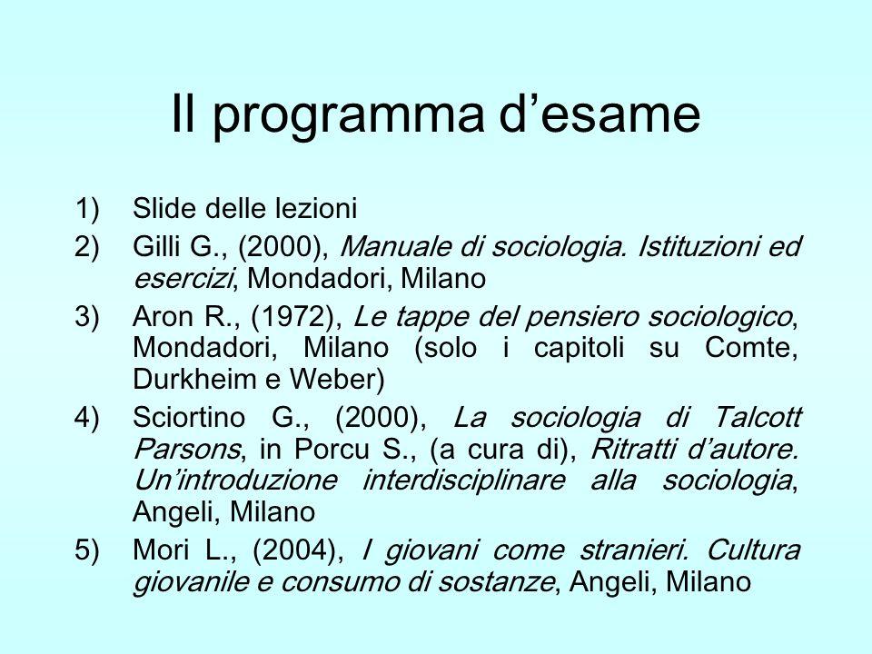 Il programma desame 1)Slide delle lezioni 2)Gilli G., (2000), Manuale di sociologia. Istituzioni ed esercizi, Mondadori, Milano 3)Aron R., (1972), Le