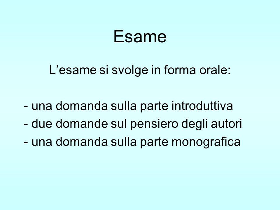 Esame Lesame si svolge in forma orale: - una domanda sulla parte introduttiva - due domande sul pensiero degli autori - una domanda sulla parte monogr