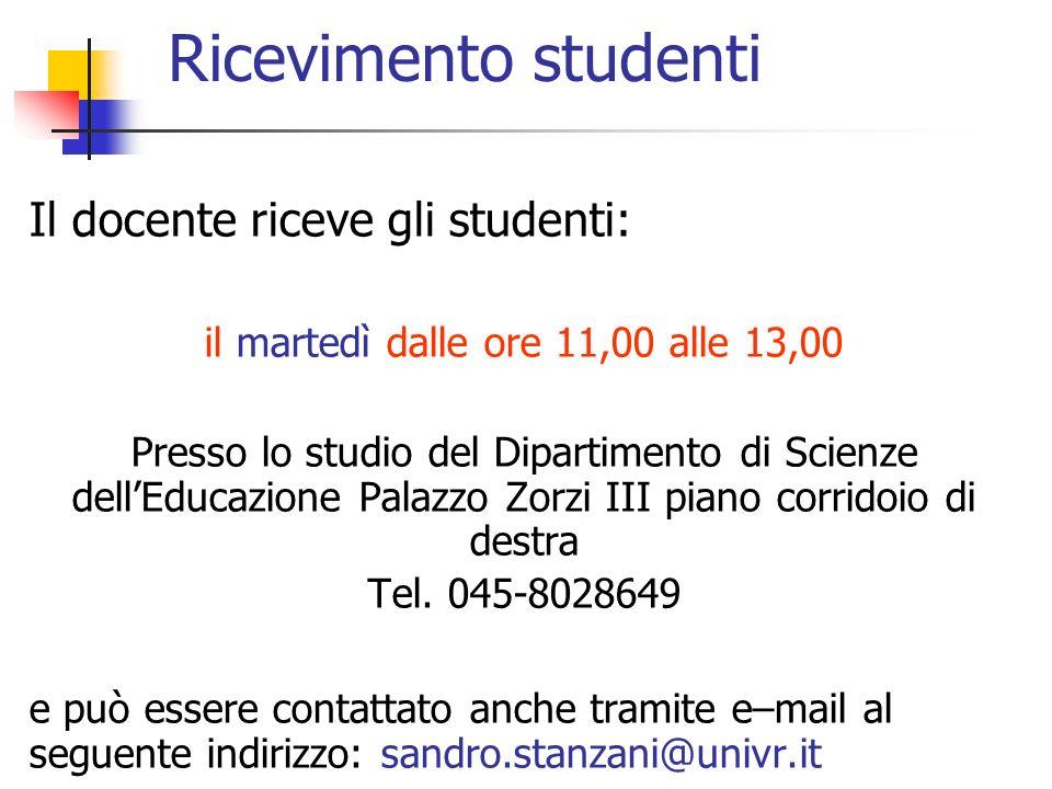 Ricevimento studenti Il docente riceve gli studenti: il martedì dalle ore 11,00 alle 13,00 Presso lo studio del Dipartimento di Scienze dellEducazione Palazzo Zorzi III piano corridoio di destra Tel.