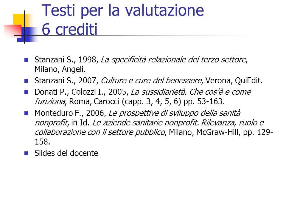 Testi per la valutazione 6 crediti Stanzani S., 1998, La specificità relazionale del terzo settore, Milano, Angeli.
