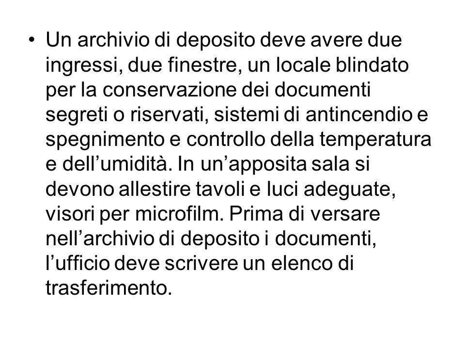 Un archivio di deposito deve avere due ingressi, due finestre, un locale blindato per la conservazione dei documenti segreti o riservati, sistemi di a