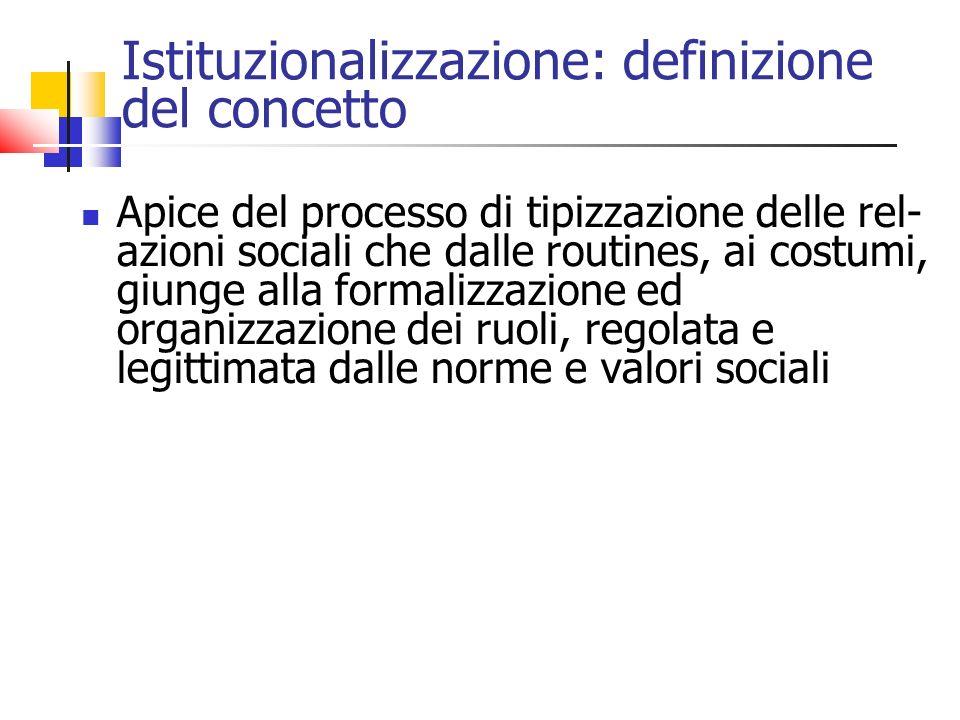 Istituzionalizzazione: definizione del concetto Apice del processo di tipizzazione delle rel- azioni sociali che dalle routines, ai costumi, giunge alla formalizzazione ed organizzazione dei ruoli, regolata e legittimata dalle norme e valori sociali