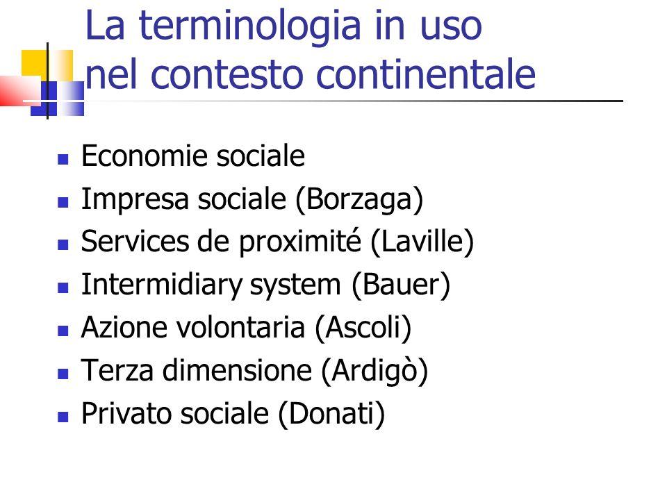 La terminologia in uso nel contesto continentale Economie sociale Impresa sociale (Borzaga) Services de proximité (Laville) Intermidiary system (Bauer) Azione volontaria (Ascoli) Terza dimensione (Ardigò) Privato sociale (Donati)
