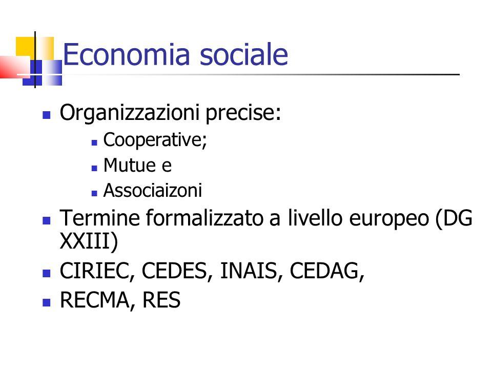 Economia sociale Organizzazioni precise: Cooperative; Mutue e Associaizoni Termine formalizzato a livello europeo (DG XXIII) CIRIEC, CEDES, INAIS, CED