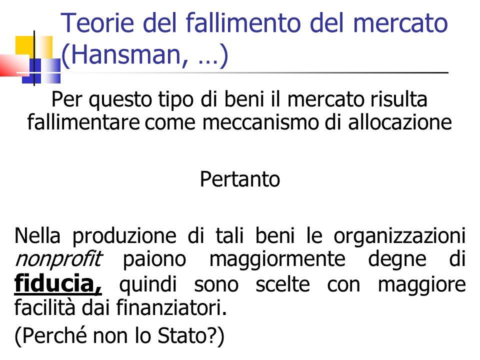 Teorie del fallimento del mercato (Hansman, …) Per questo tipo di beni il mercato risulta fallimentare come meccanismo di allocazione Pertanto Nella p