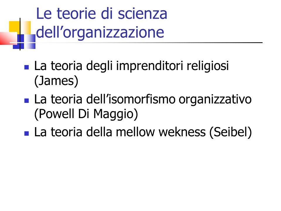 Le teorie di scienza dellorganizzazione La teoria degli imprenditori religiosi (James) La teoria dellisomorfismo organizzativo (Powell Di Maggio) La teoria della mellow wekness (Seibel)