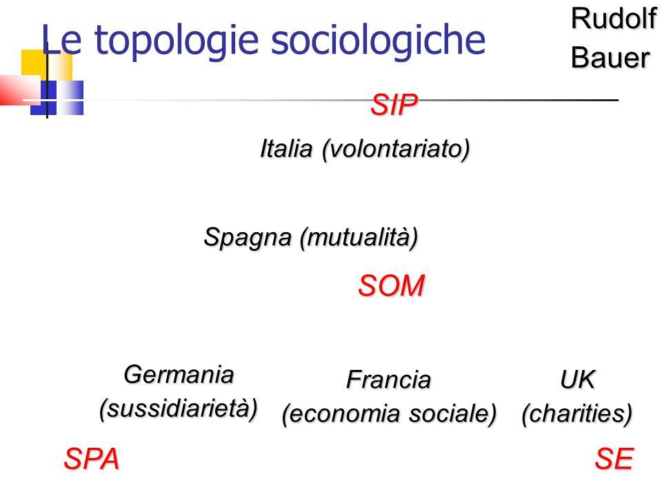 Le topologie sociologicheRudolfBauerSIP SPASE SOM Italia (volontariato) Spagna (mutualità) Germania (sussidiarietà) Francia (economia sociale) UK (charities)