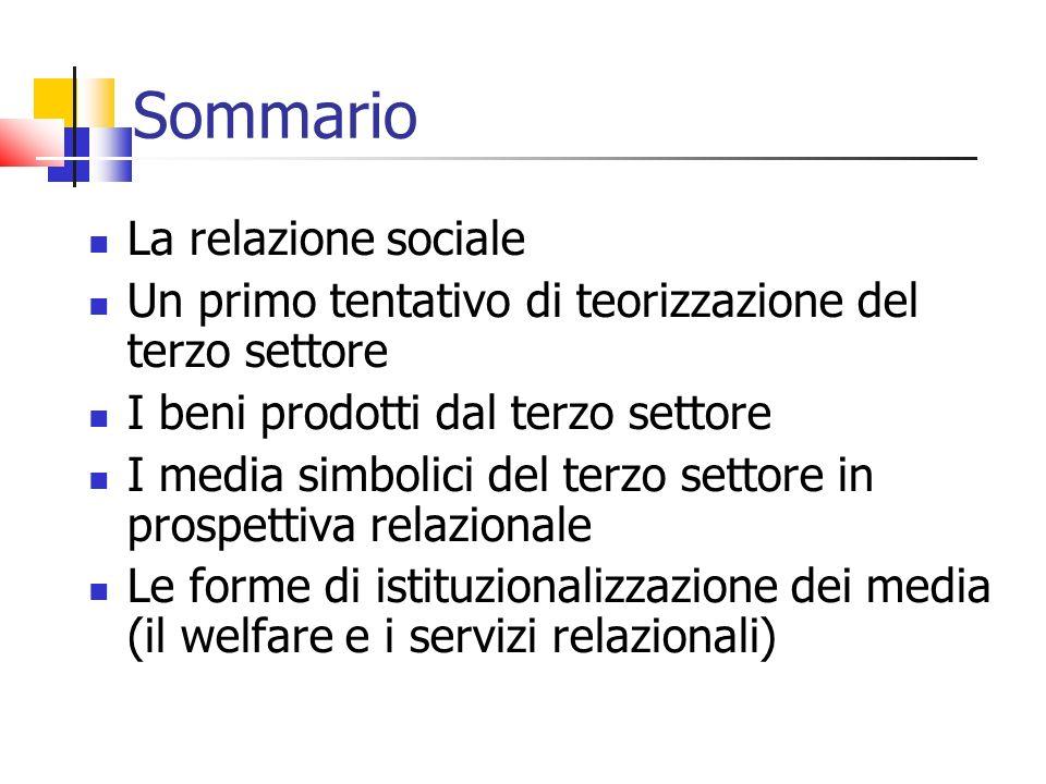Sommario La relazione sociale Un primo tentativo di teorizzazione del terzo settore I beni prodotti dal terzo settore I media simbolici del terzo sett